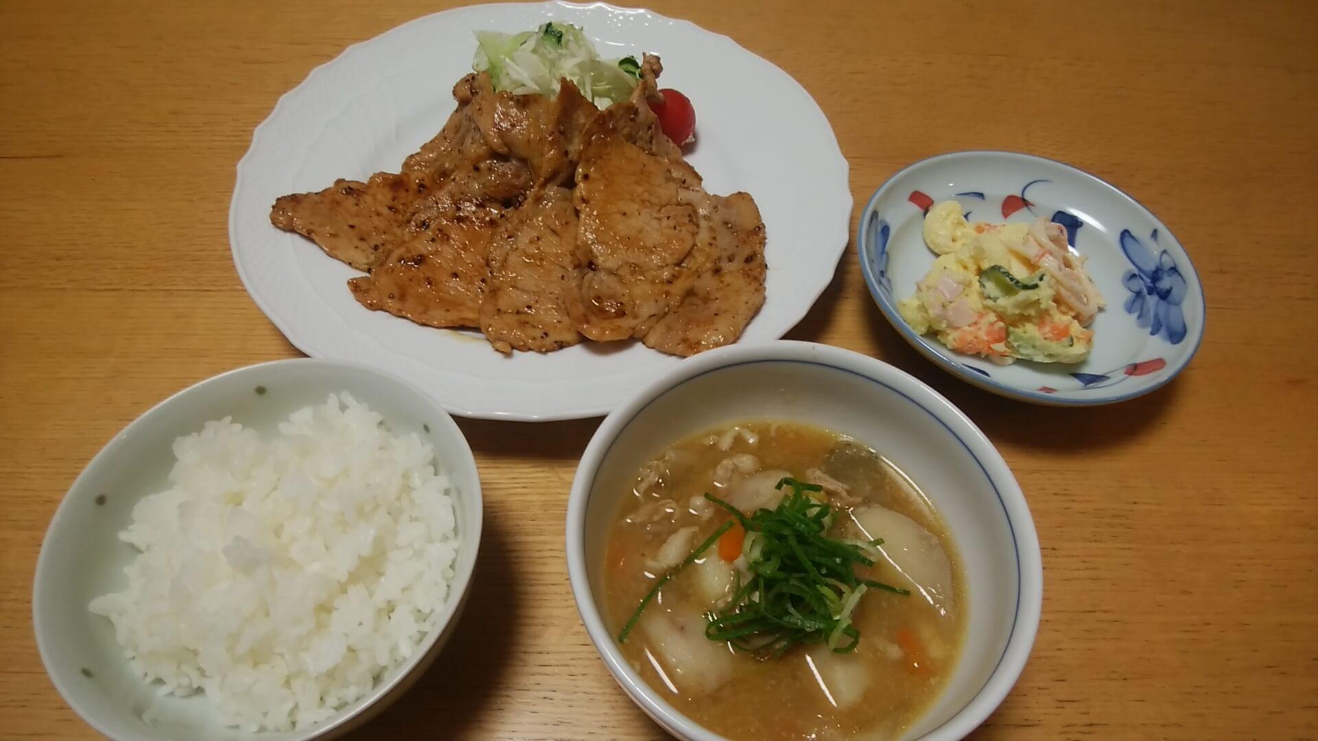 豚汁+生姜焼き